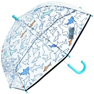 Sombrilla para niño en transparente con diseño de tiburones