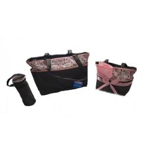 Pañalera 5 piezas café con rosado flores mariposas