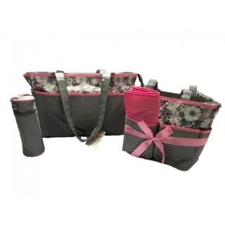 Pañalera 5 piezas gris con rosado flores