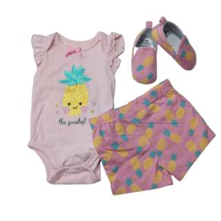 Conjunto para niña 3 piezas con zapatitos estampado piñas