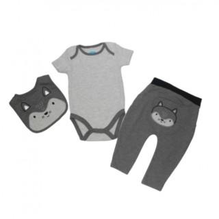 Conjunto 3 piezas zorro gris