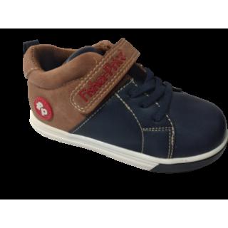 Zapato para niño Fisher Price azul-camel caña alta