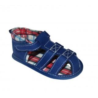 Sandalia azul con cuadros meses