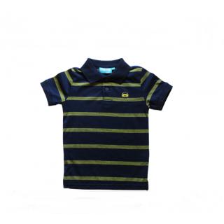 Camisa polo azul rayas verdes
